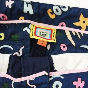Teddy Fresh Navy Chinos Slacks Printed Lining 32